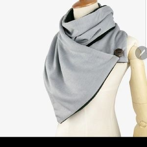 Wrap Button Stylish Fleece Lined Scarf Gray